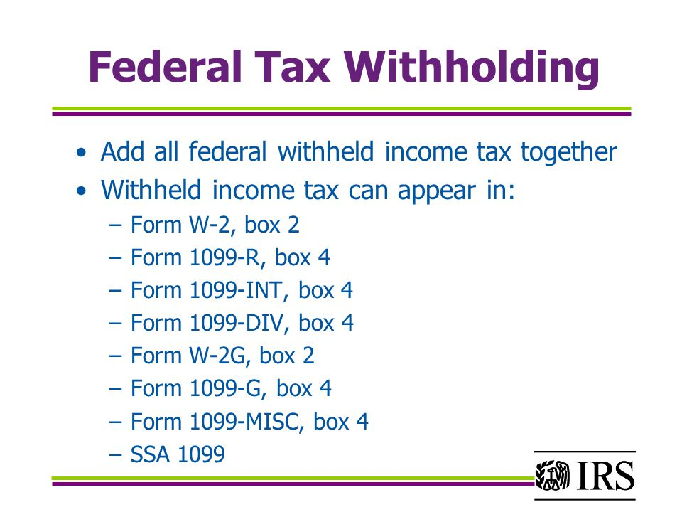 Federal Income Tax Withheld Forms W2 1099
