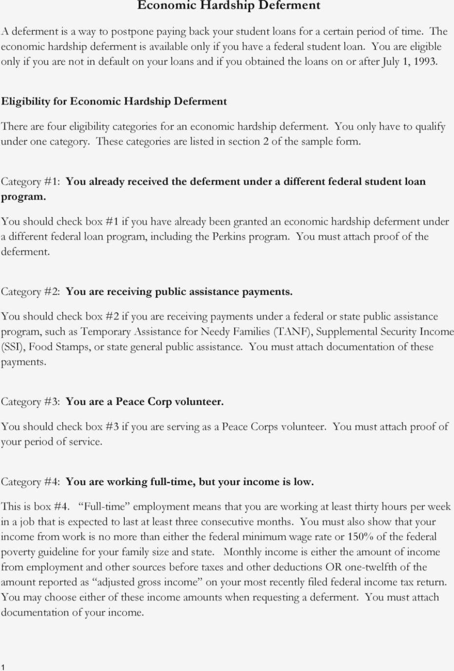 Federal Student Loan Hardship Form