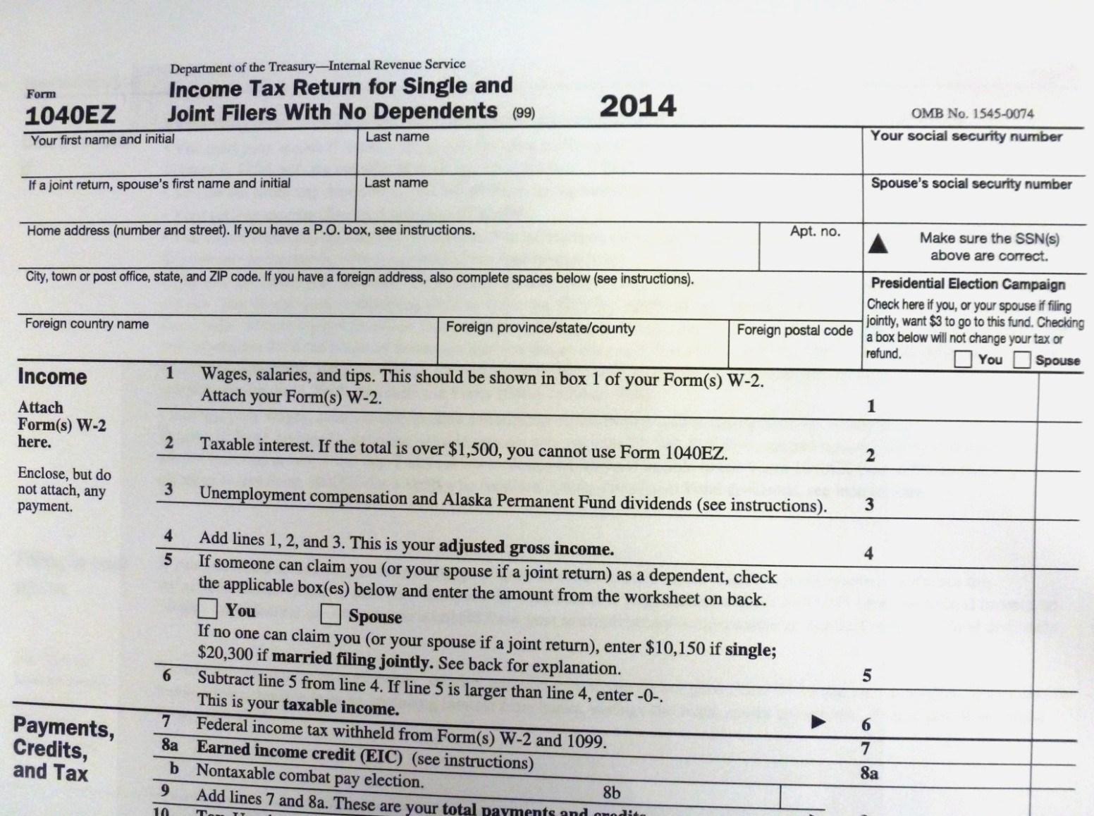 Federal Tax Form Ez 2016