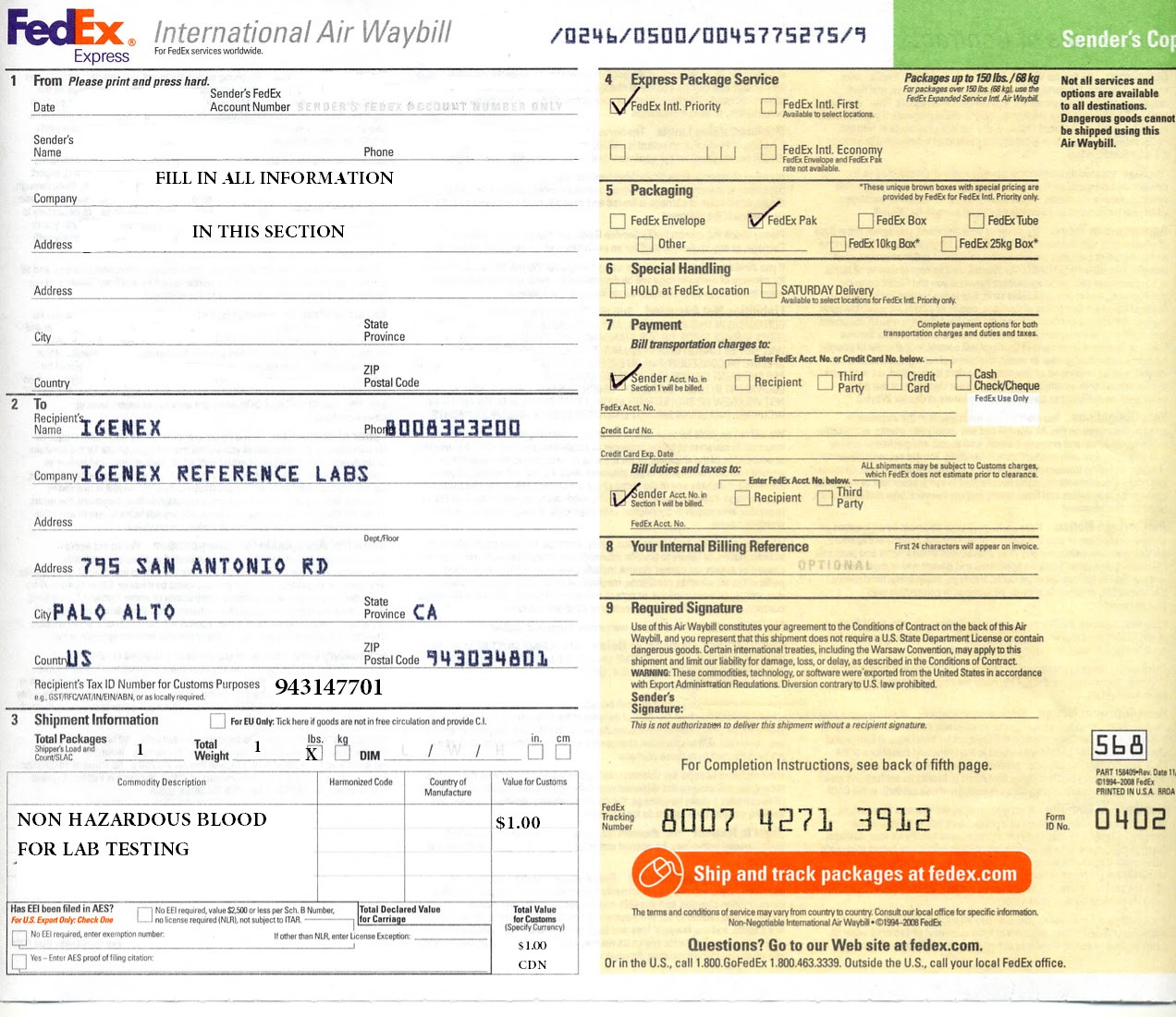 Fedex International Air Waybill Form Download