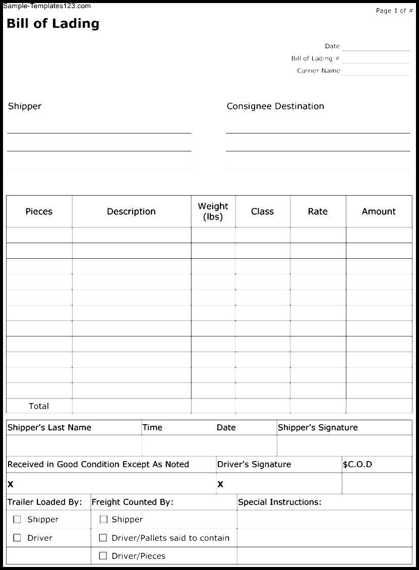 Fedex Short Form Bill Of Lading