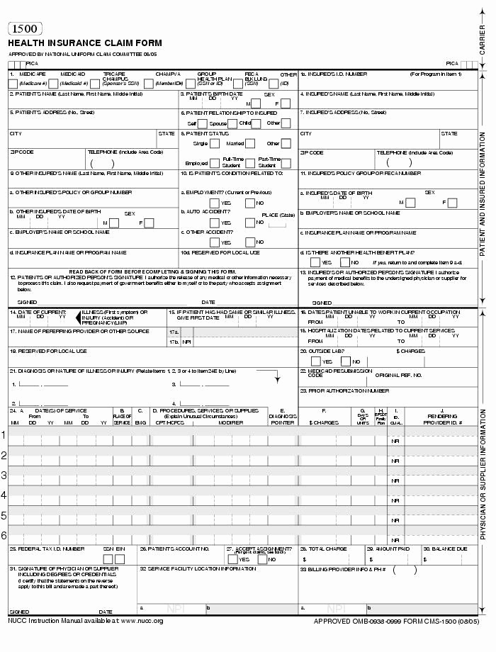 Medical Form 1500 Cms 1500 Template Best Business Template