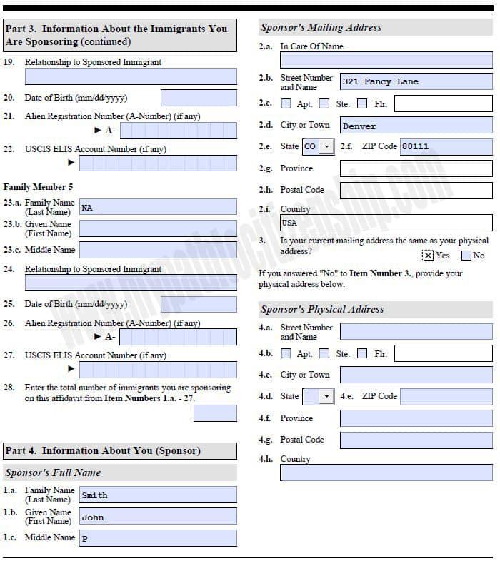 Fiance Visa Form I 864