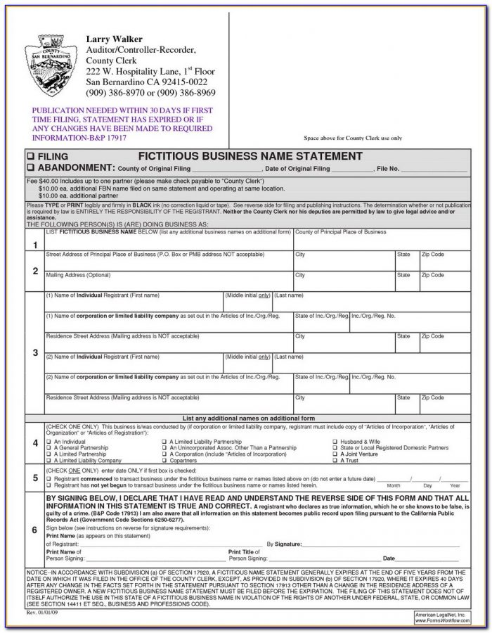 Fictitious Business Name Form Riverside County