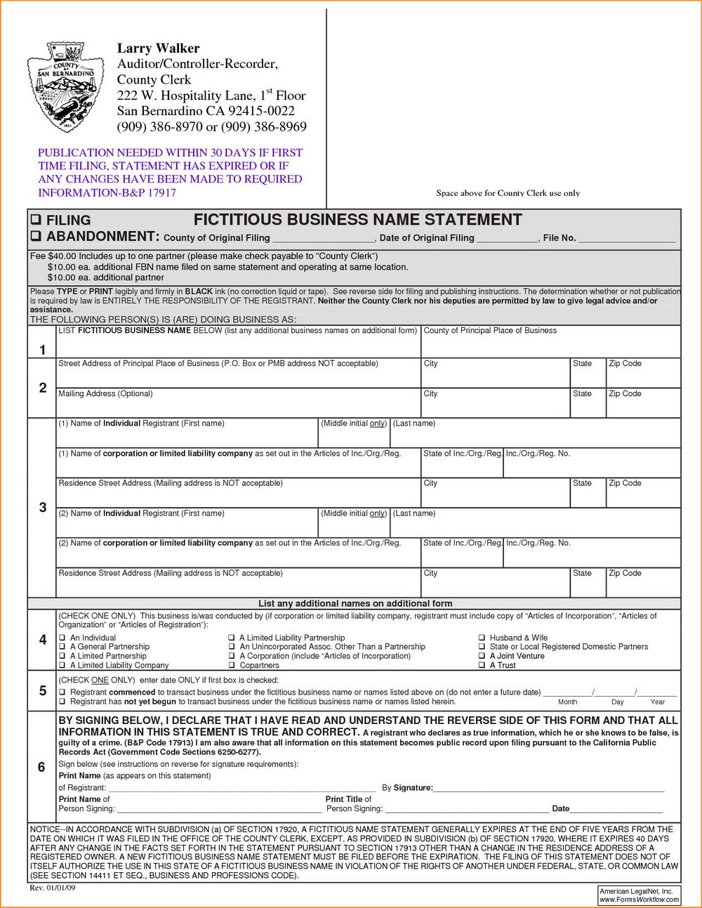 Fictitious Business Name Statement Form Los Angeles County Pdf