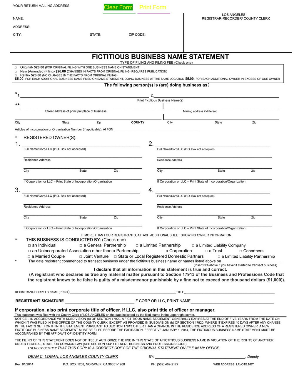 Fictitious Business Name Statement Form Los Angeles County