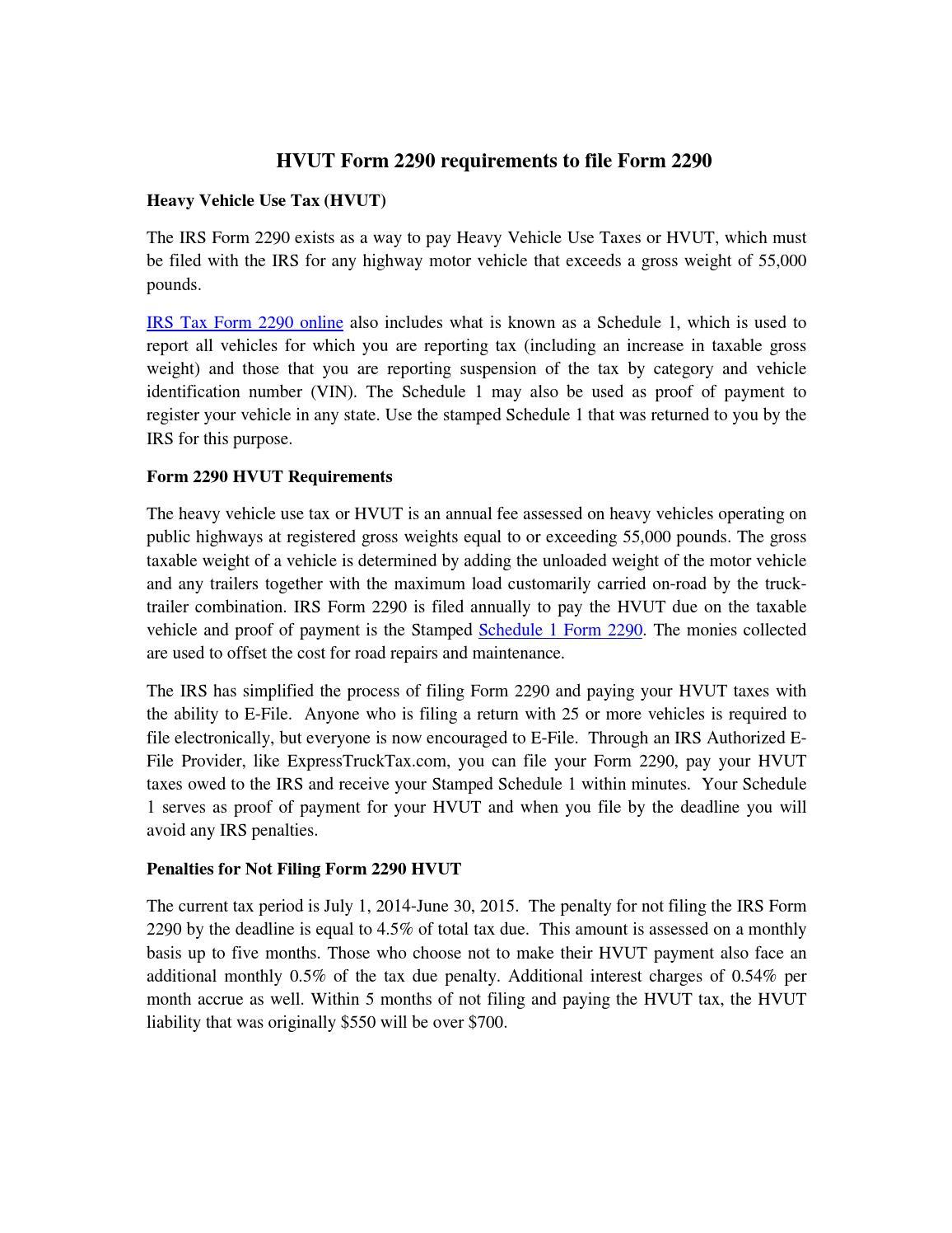 File Tax Form 2290