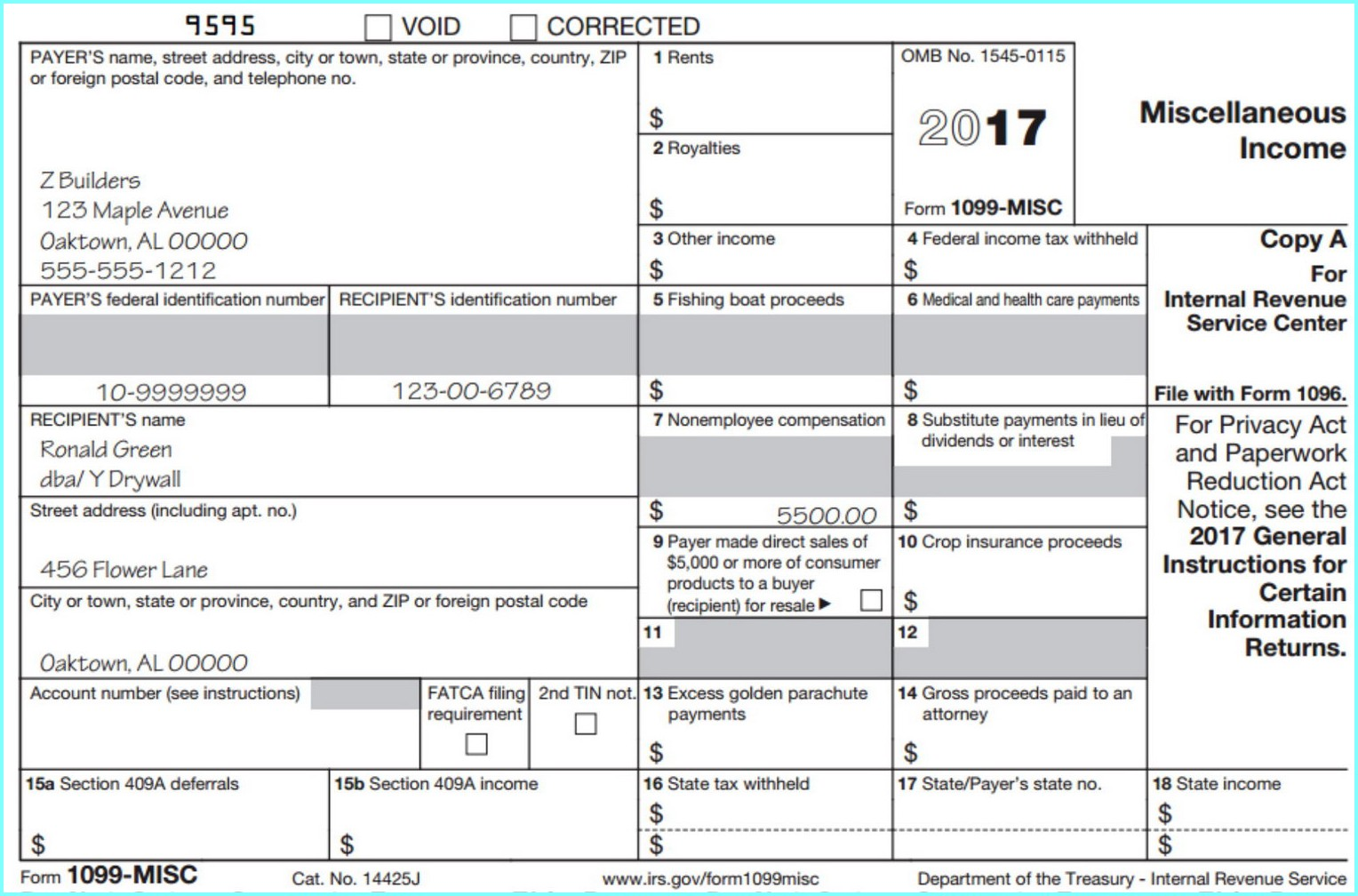 Fill In 1099 Misc Form 2017