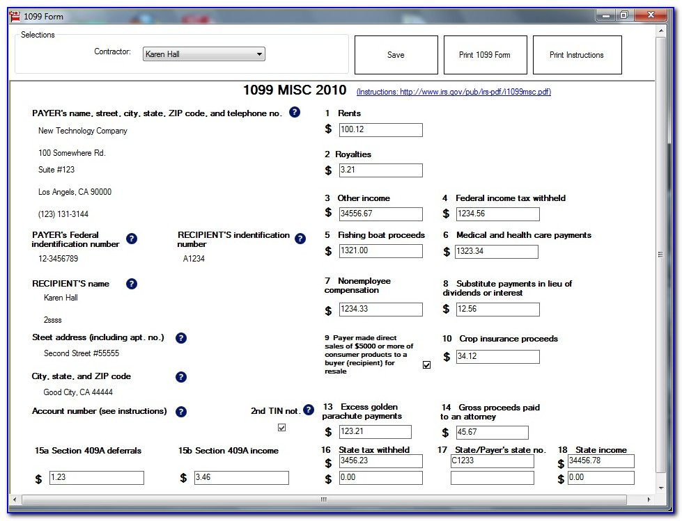 Fill Out 1099 Form Online Free