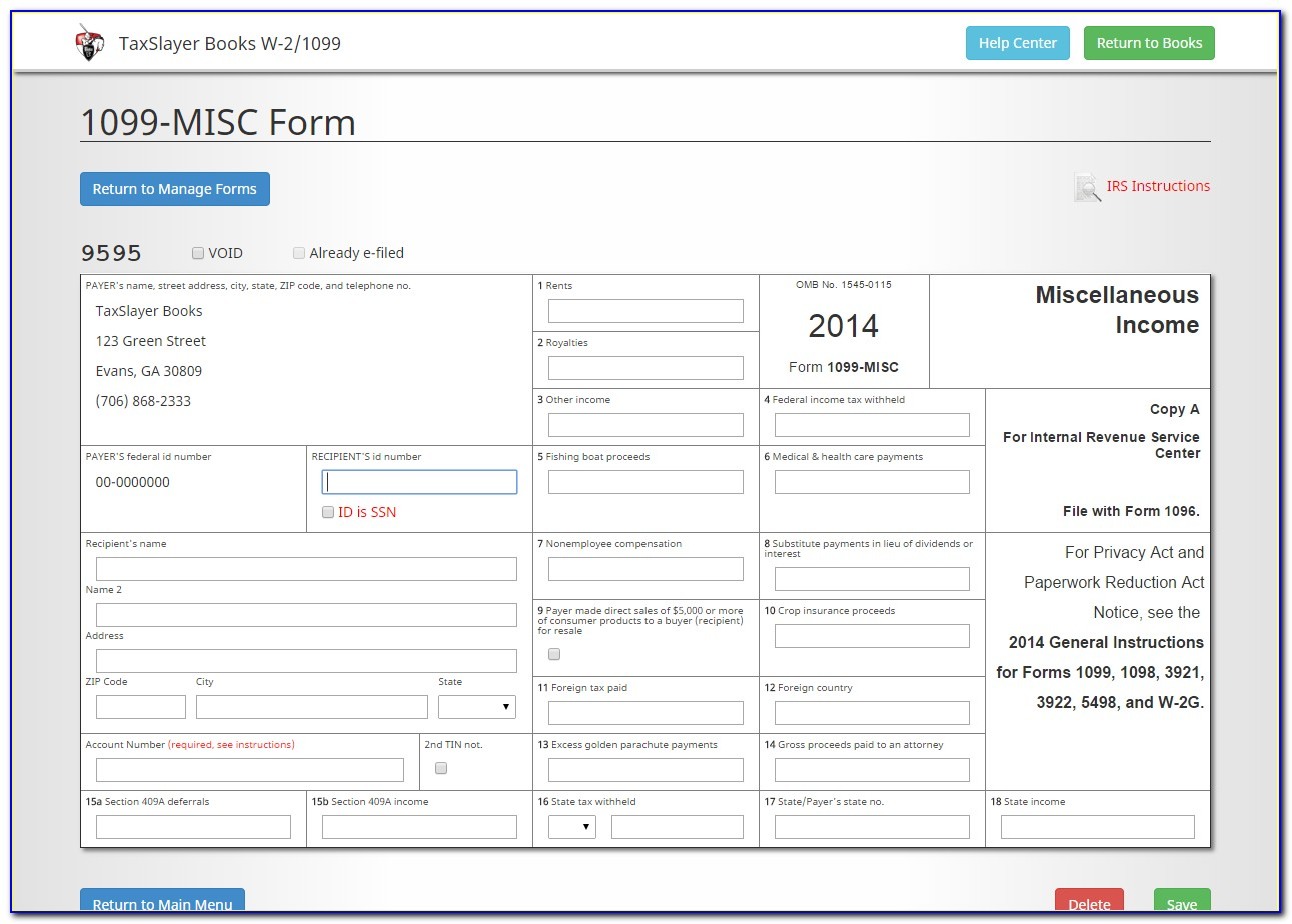 Fill Out 1099 Form Online