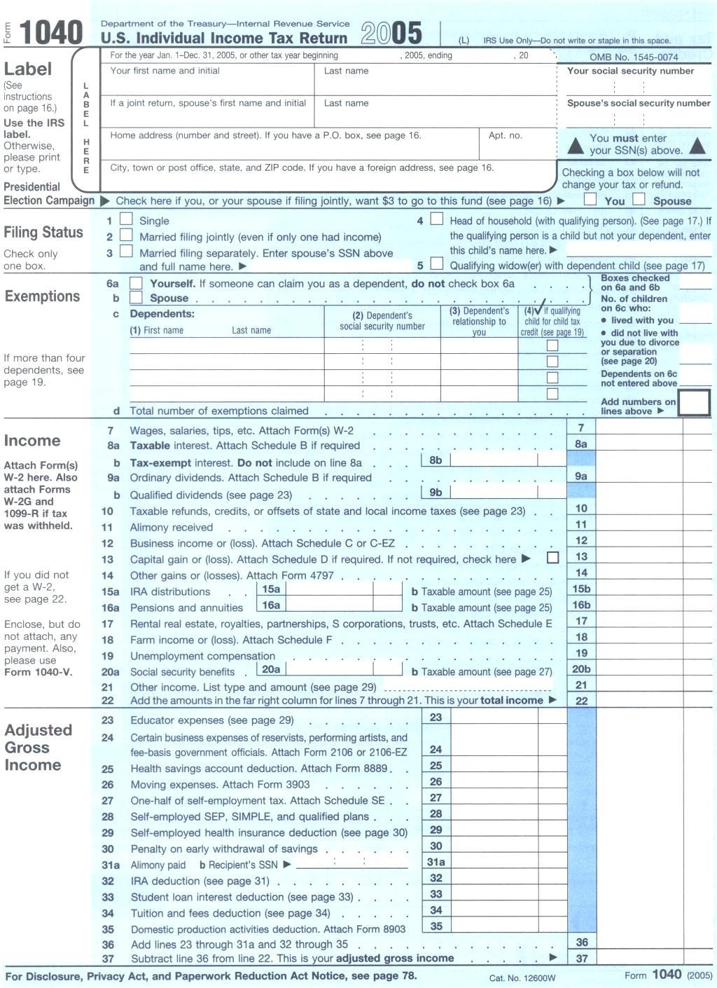Fillable 1040 Form 2015