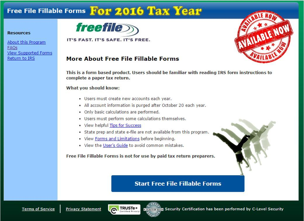Fillable Federal Tax Forms 2016