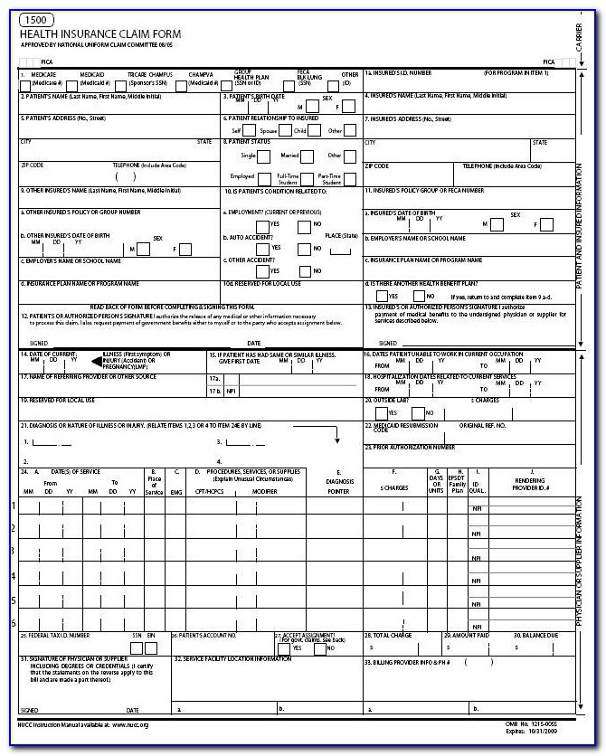 Cms1500 Software For Medicare And Medical Insurance Inside Cms 1500 Form Printable