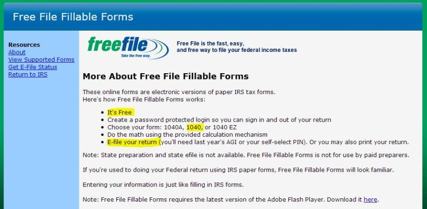 Fillable Forms Irs Free File