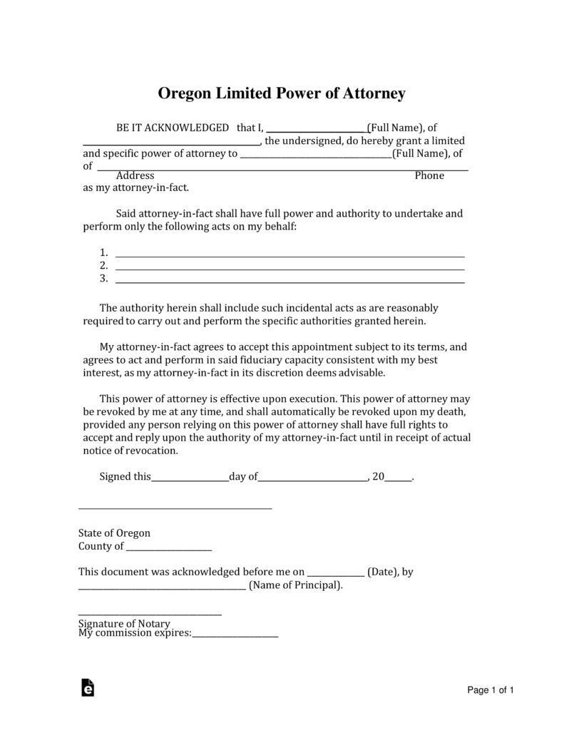 Fillable Limited Power Of Attorney Form