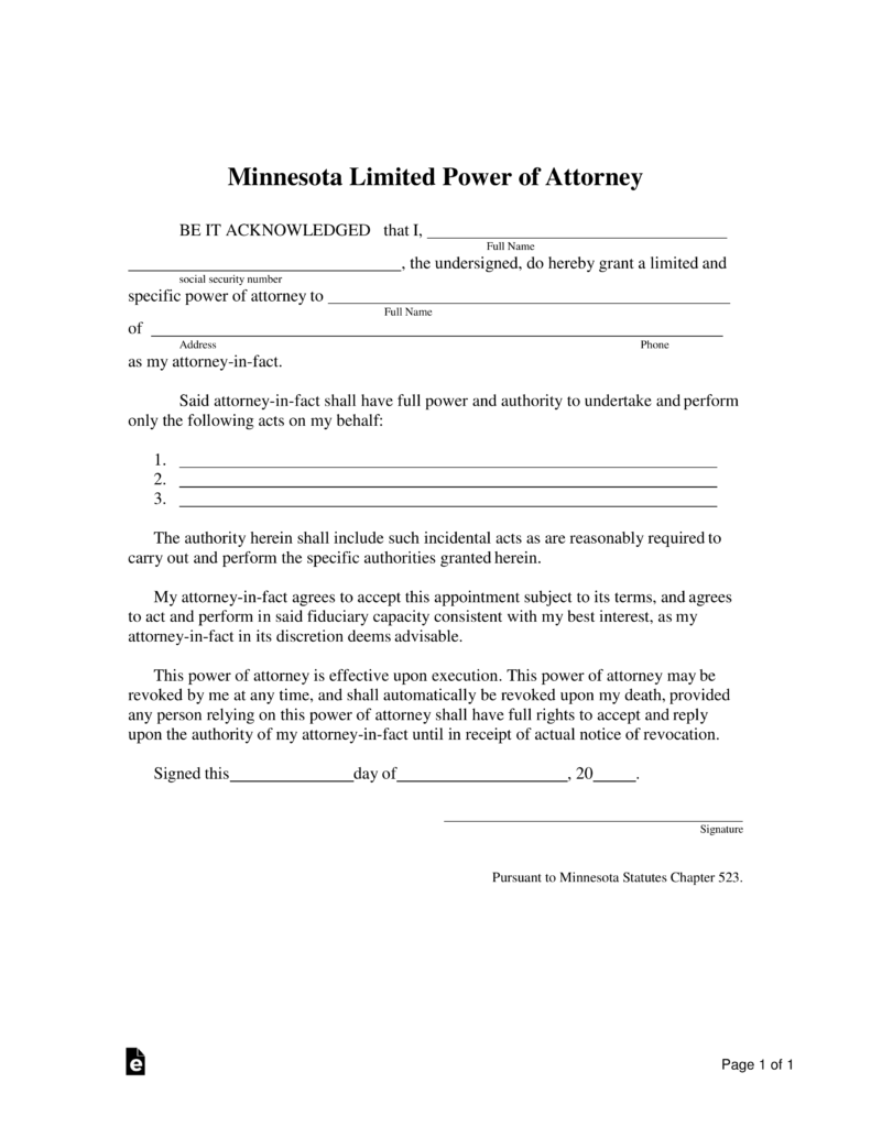 Fillable Mn Power Of Attorney Form