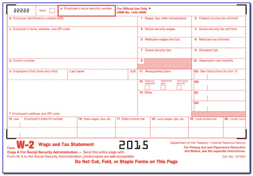 Fillable W2 Form 2015