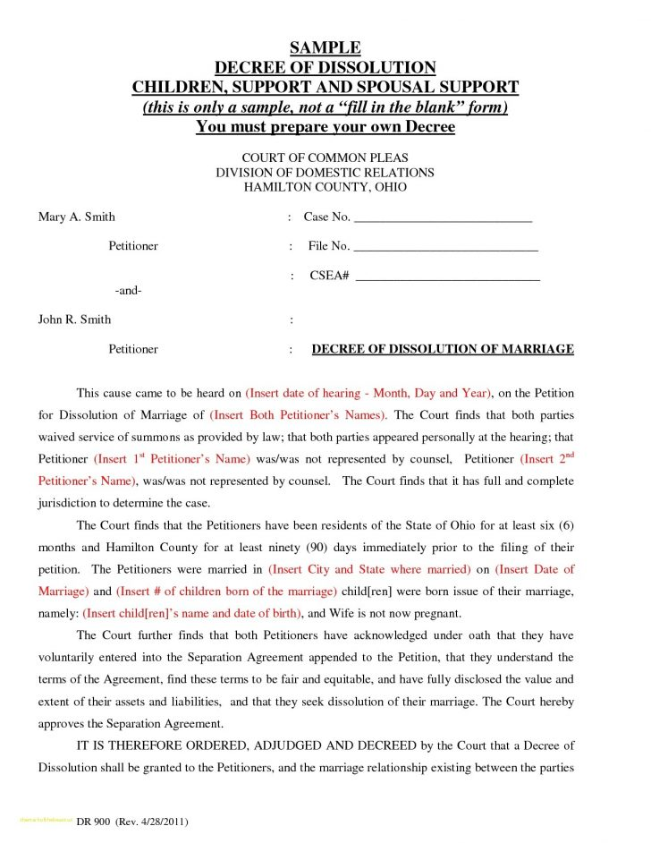 Final Decree Of Divorce Form Ohio
