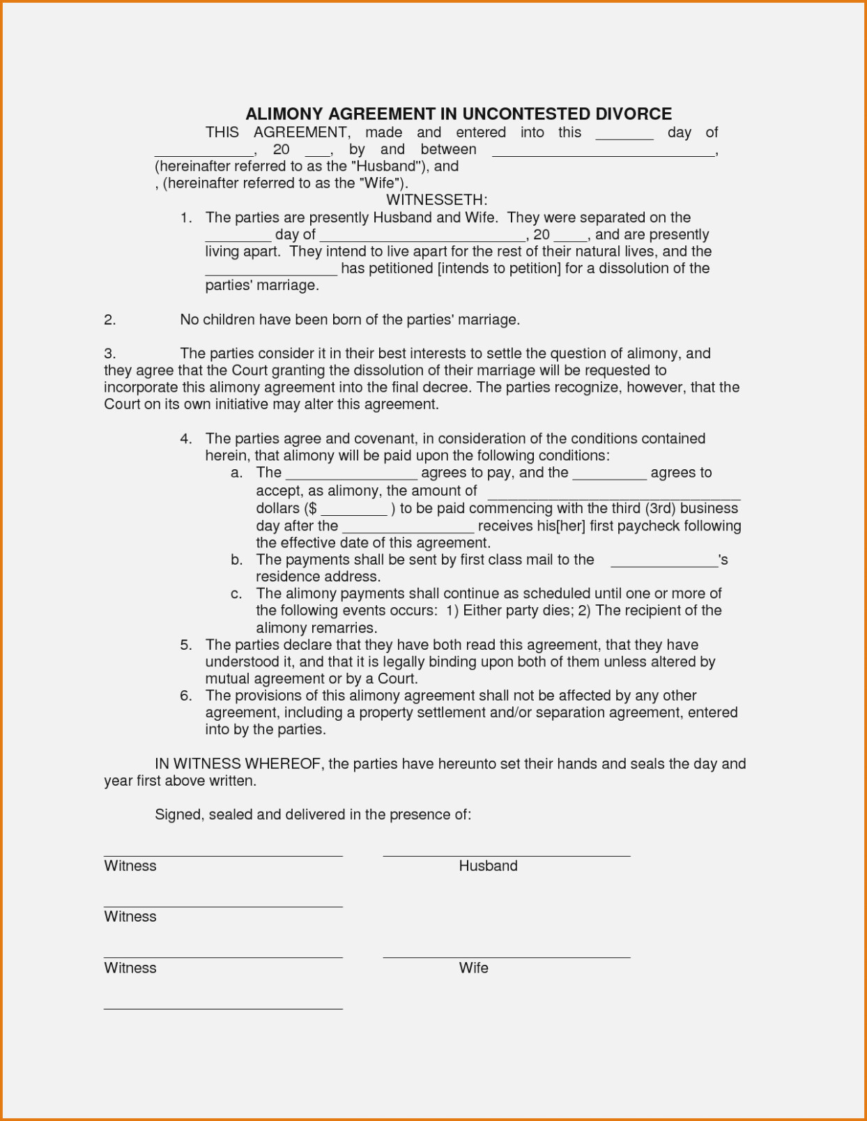 Final Decree Of Divorce Form Tennessee