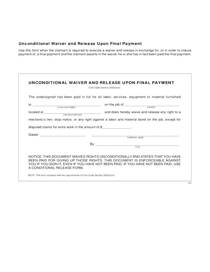 Final Lien Waiver Form Free