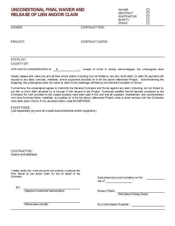 Final Payment Lien Waiver Form