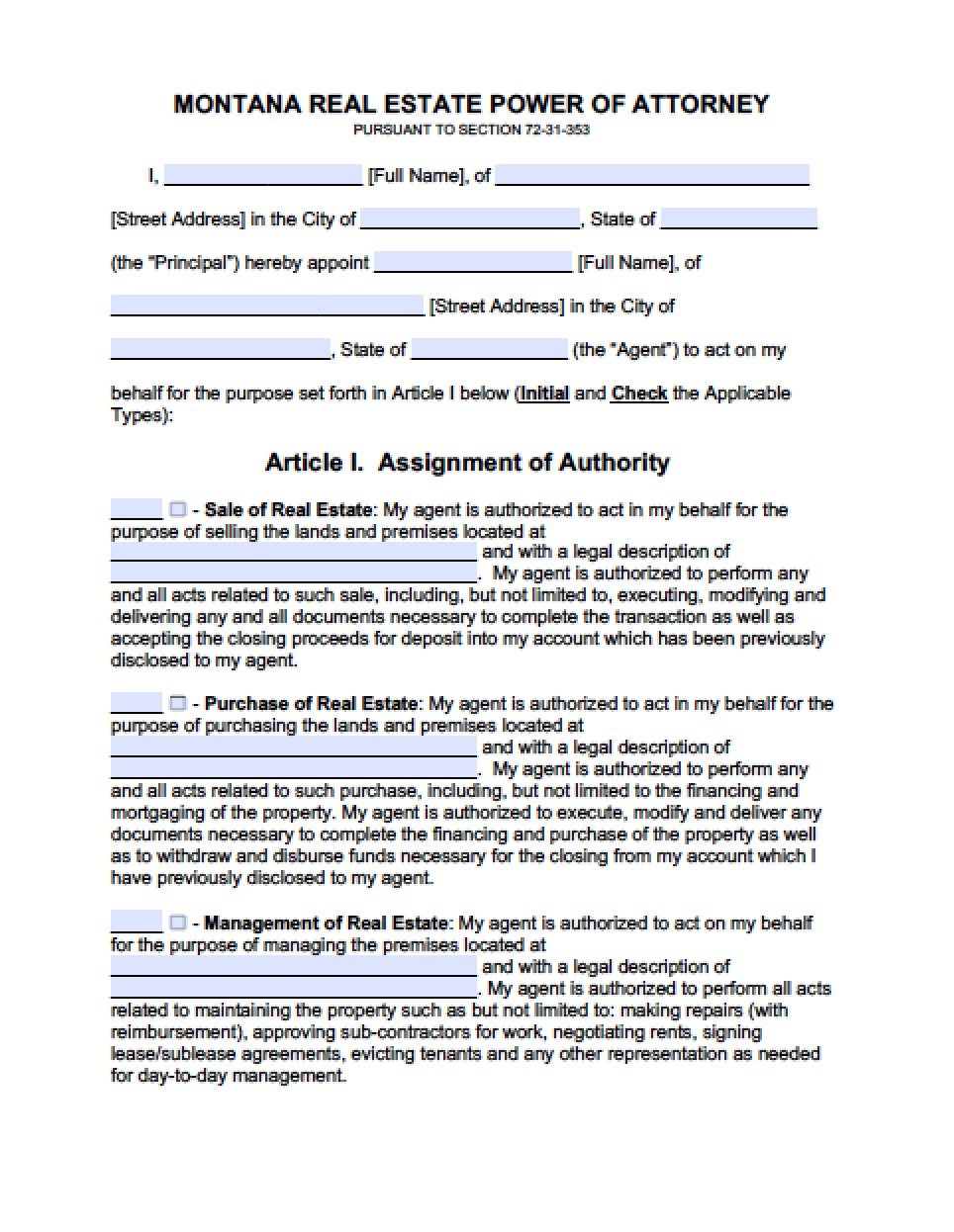 Financial Power Of Attorney Form Montana