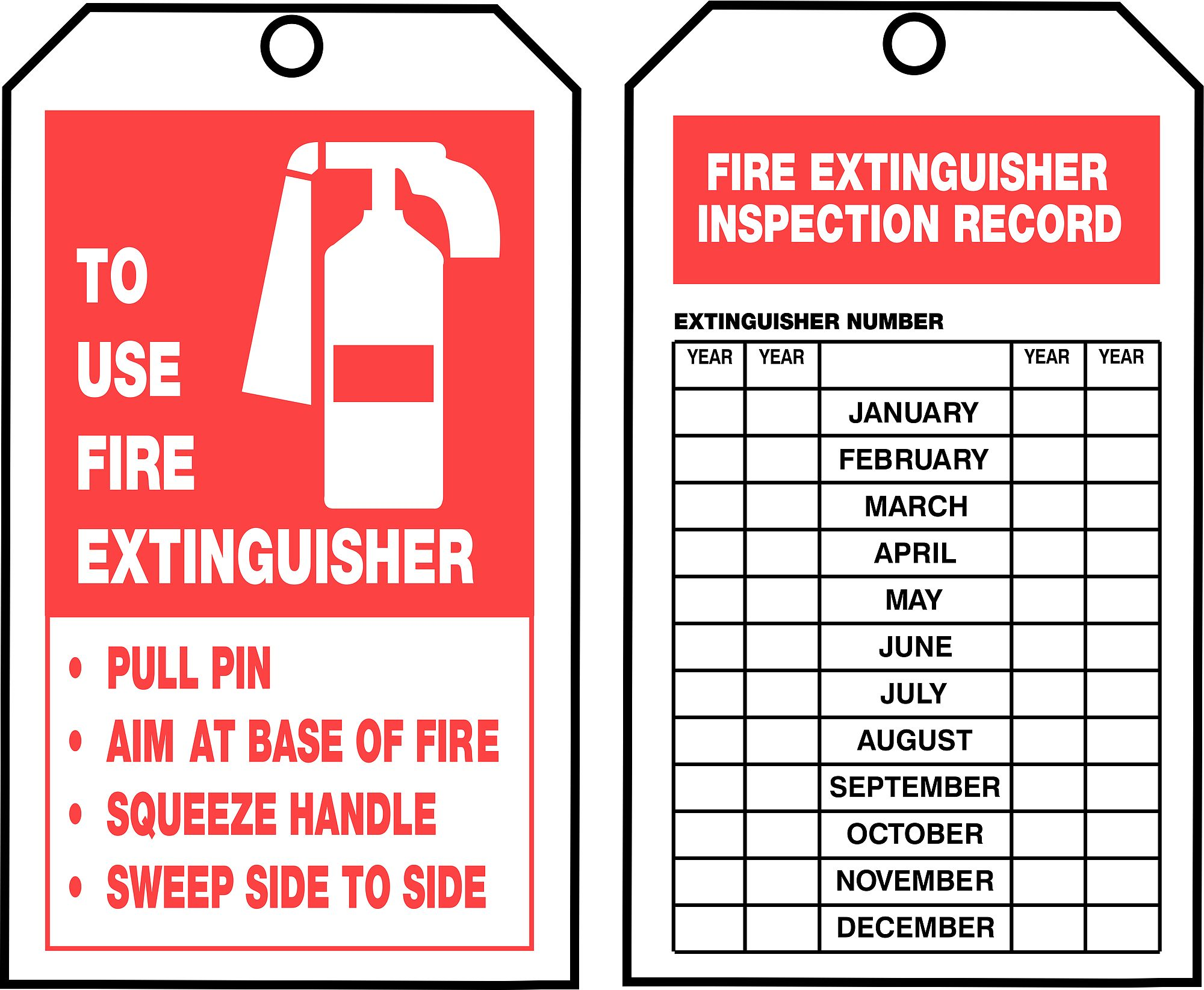 Fire Extinguisher Inspection Card Template