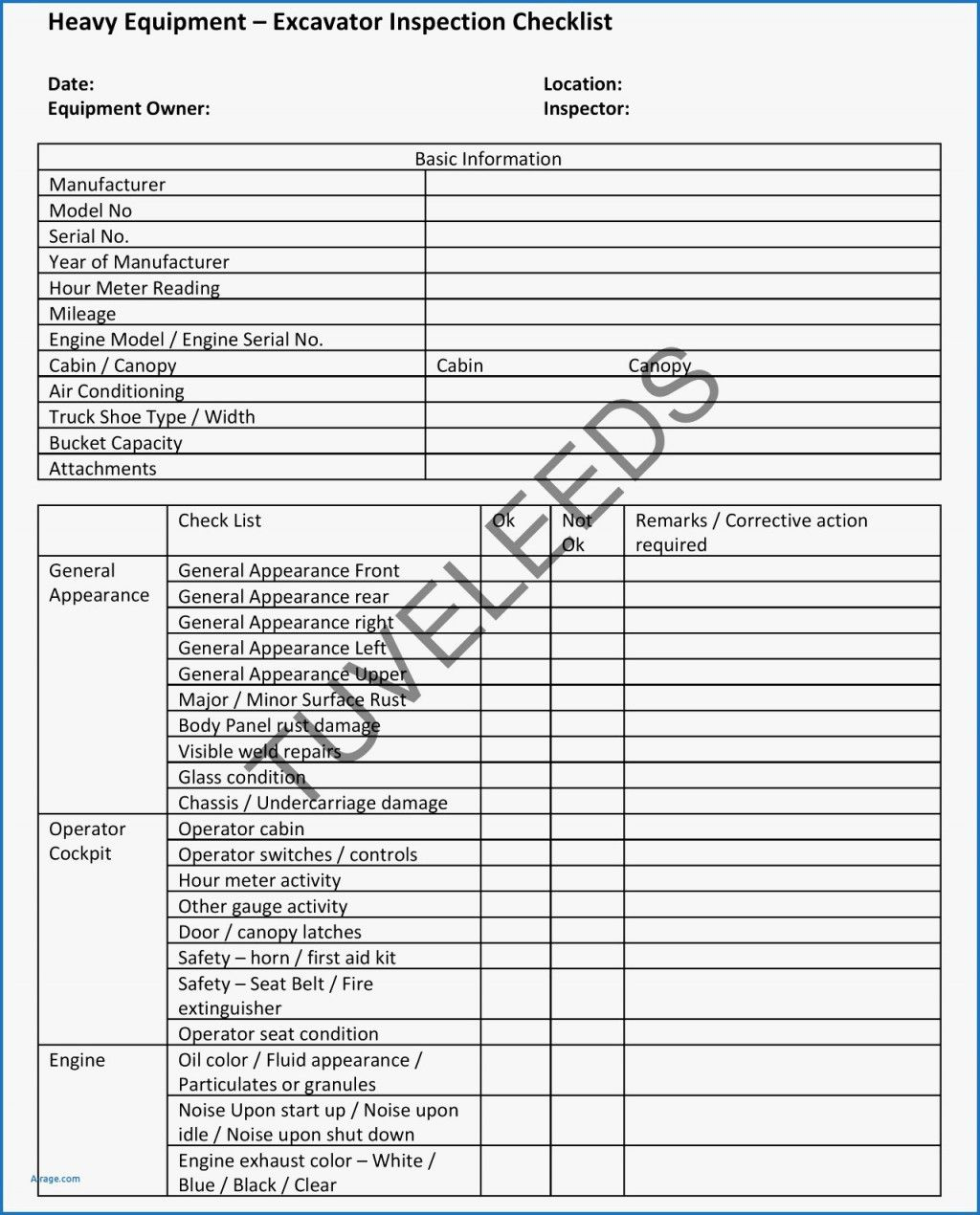 Fire Extinguisher Monthly Inspection Template