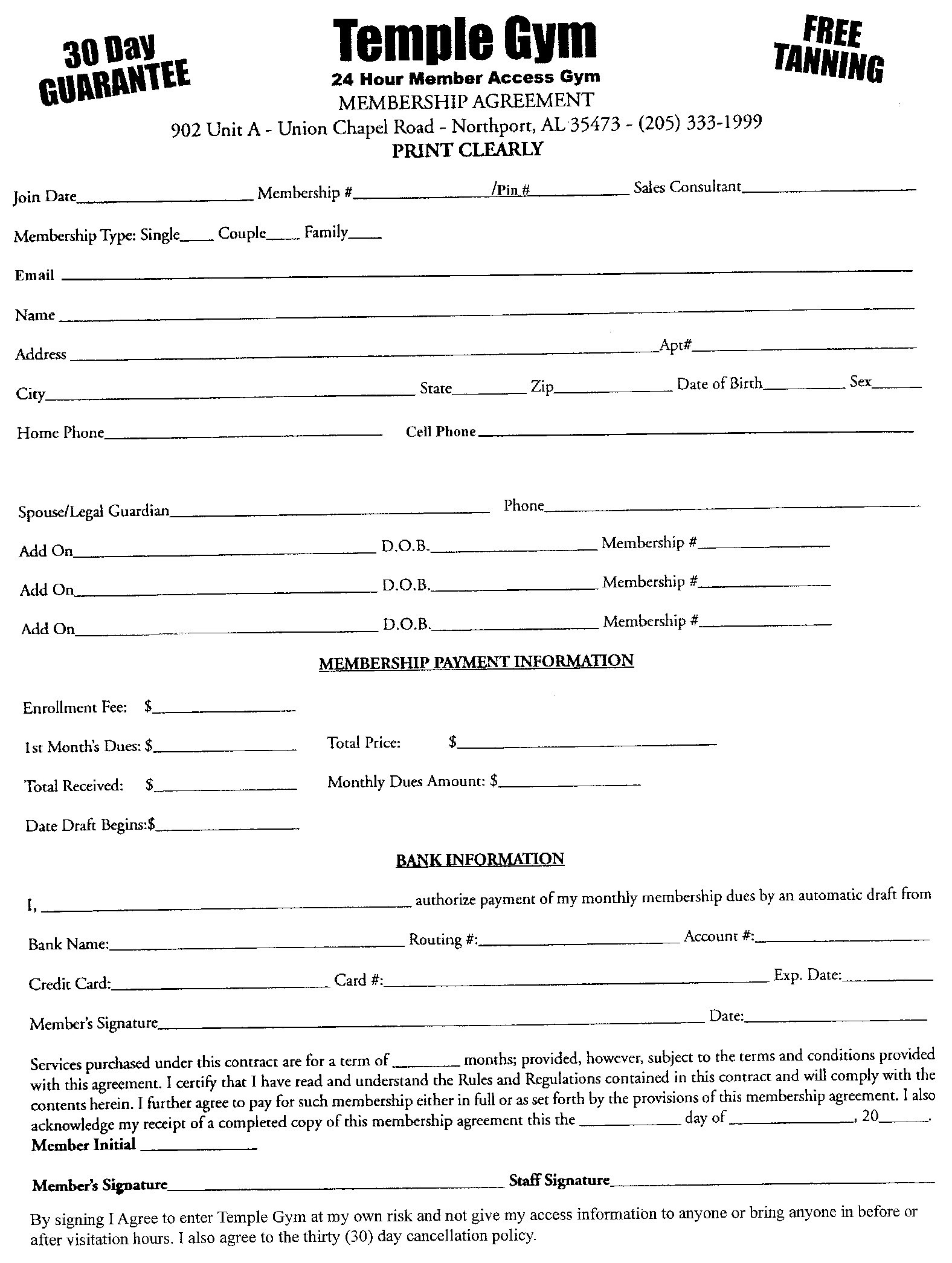 Fitness Center Waiver Release Form