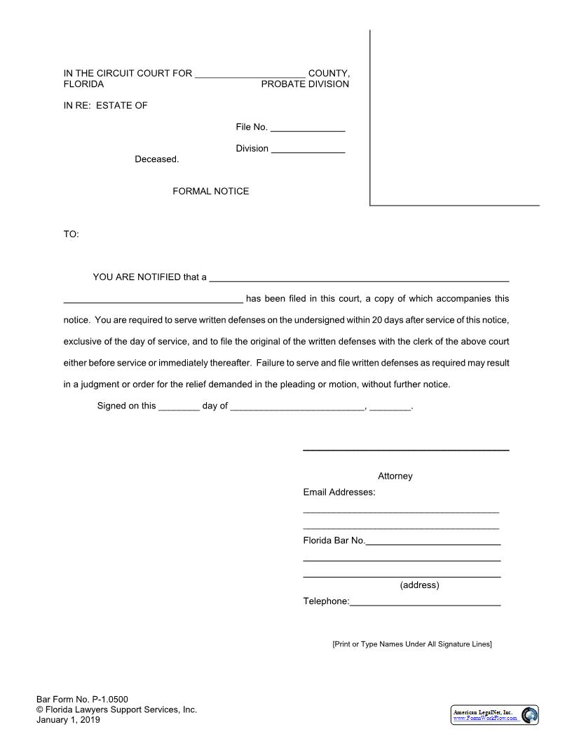 Florida Bar Approved Probate Forms