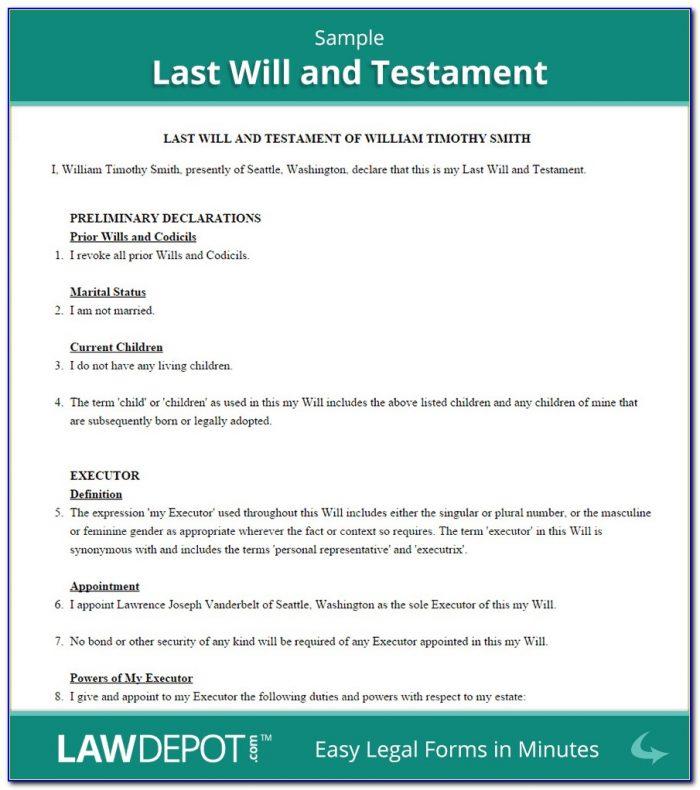 Florida Bar Last Will And Testament Form