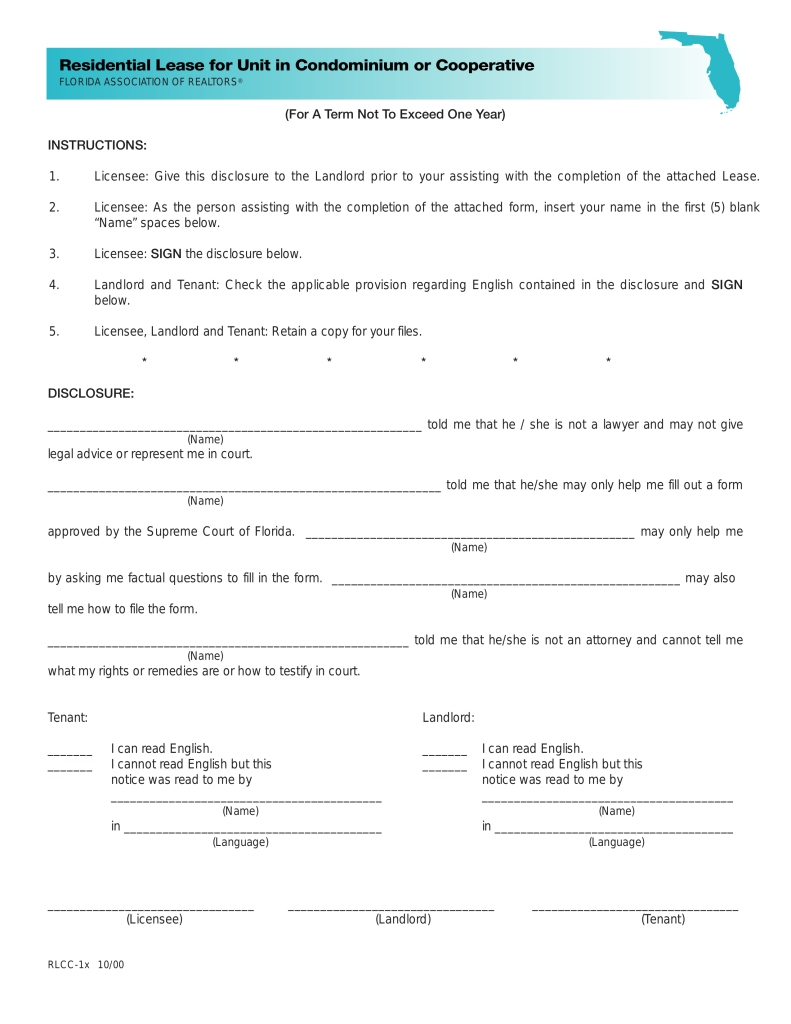 Florida Condo Rental Agreement Form