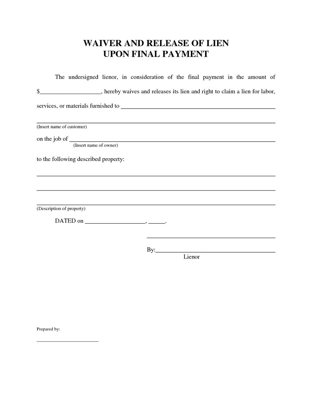 Lien Release Form Florida