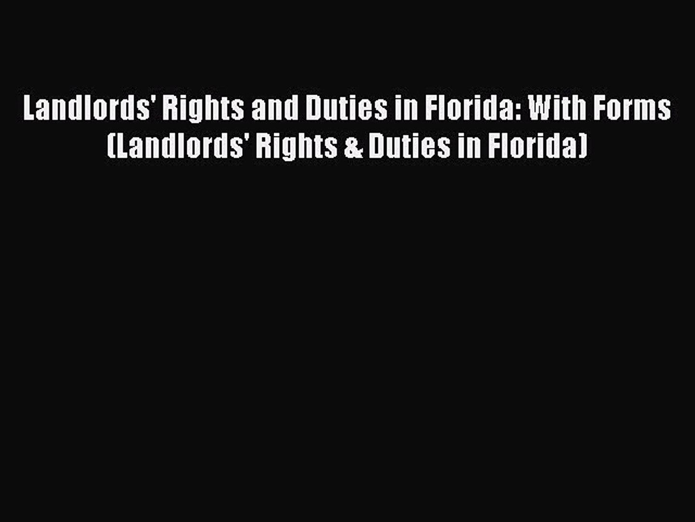 Florida Landlord Tenant Statutes Forms