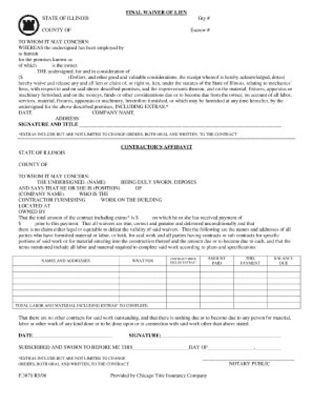 Florida Lien Waiver Release Forms