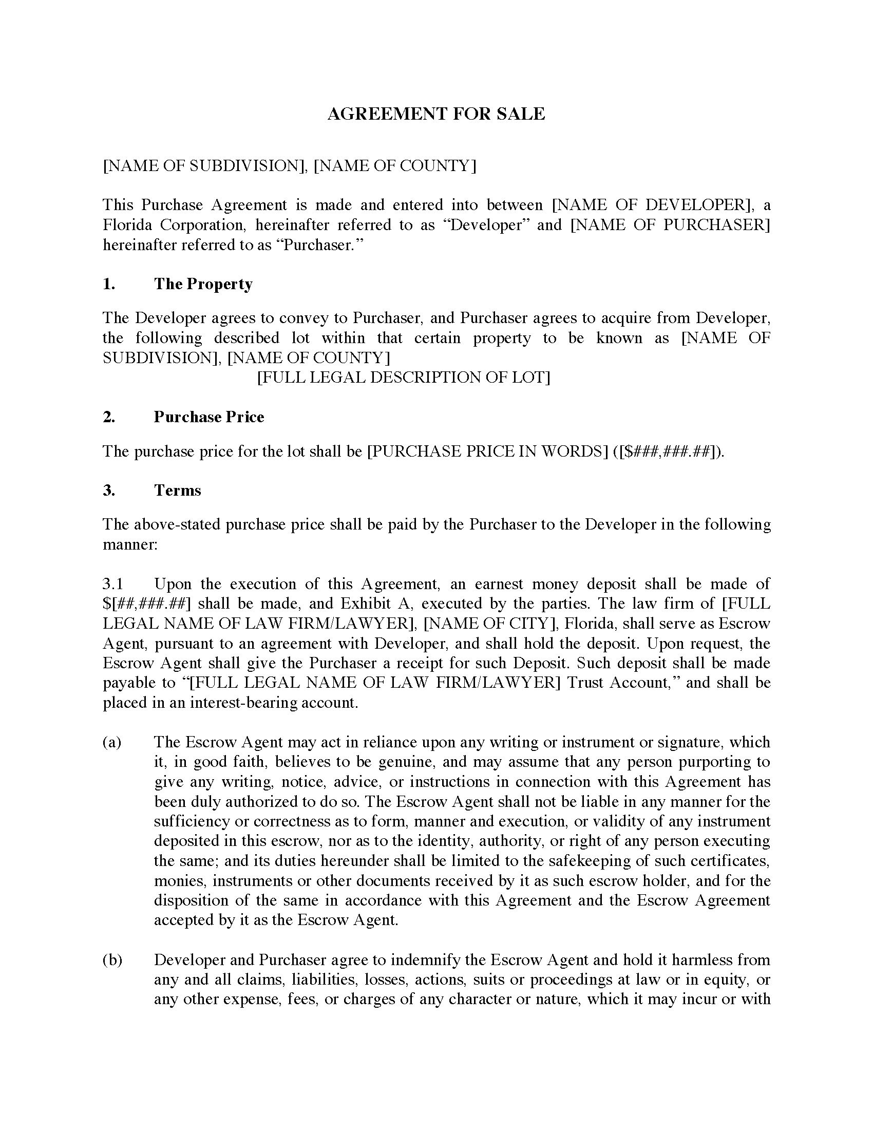 Florida Agreement For Sale By Real Estate Developer Legal Forms And Business Templates Florida Real Estate Purchase And Sale Agreement Form