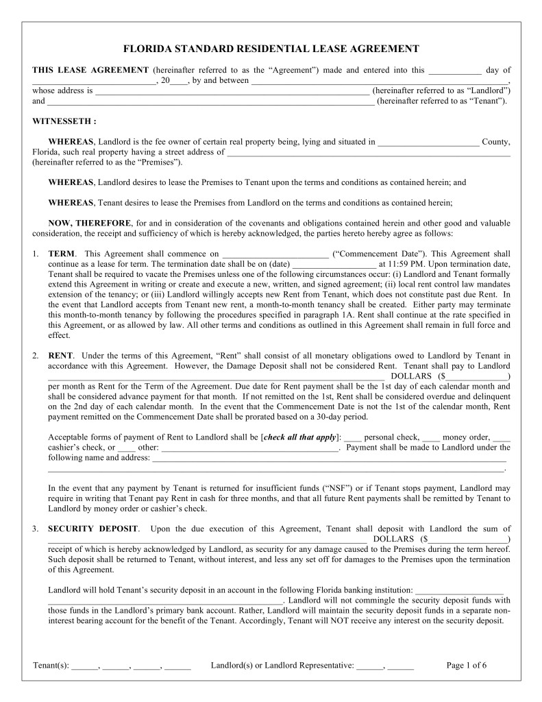 Florida Residential Lease Agreement Form Free
