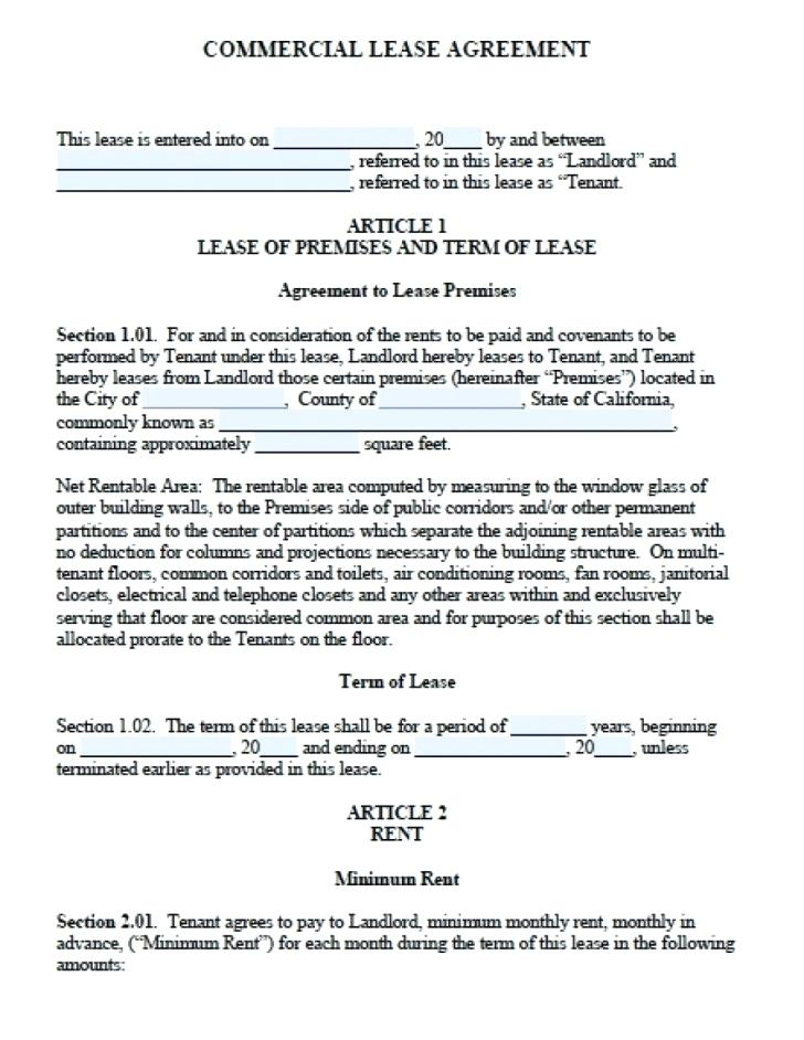 Florida Residential Lease Agreement Short Form