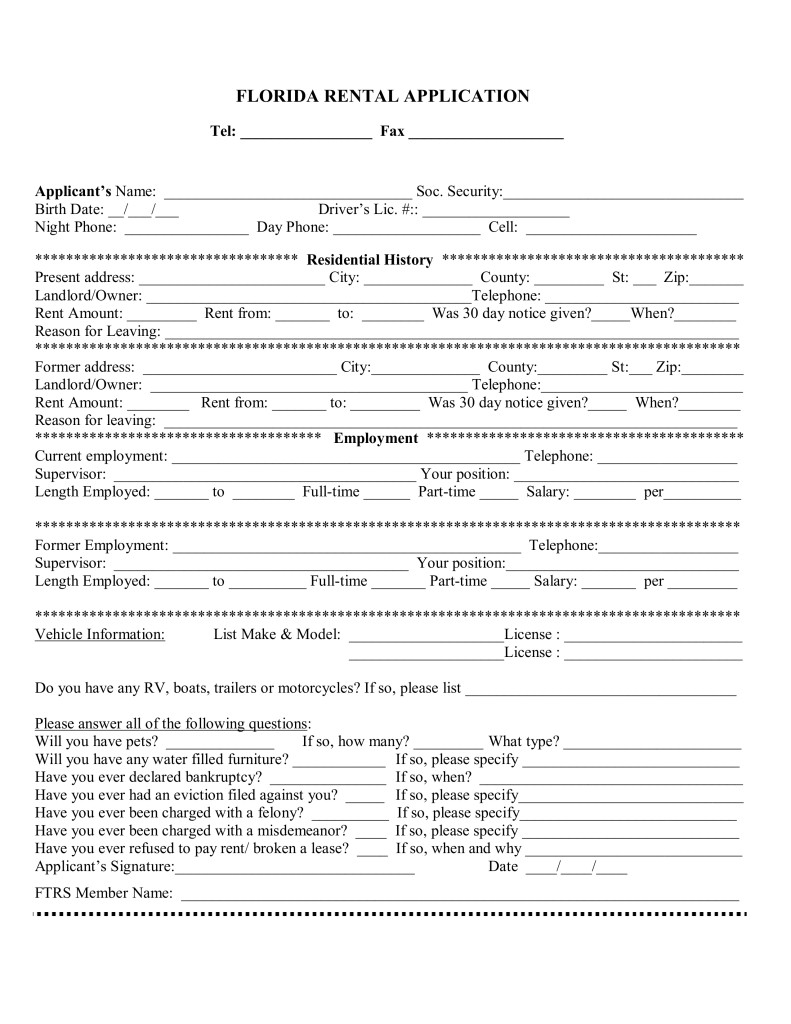 Florida Residential Lease Application Form
