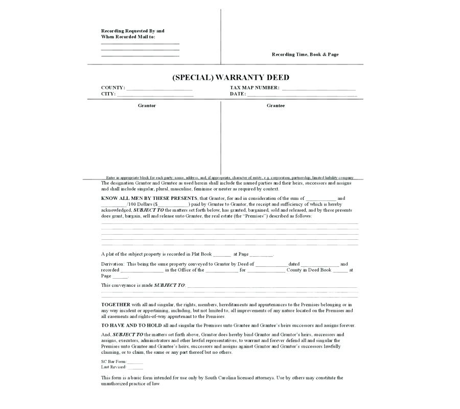 Florida Special Warranty Deed Form Free