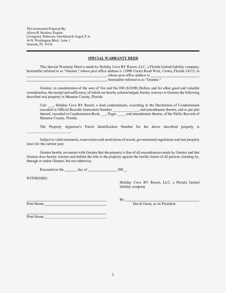 Florida Special Warranty Deed Form
