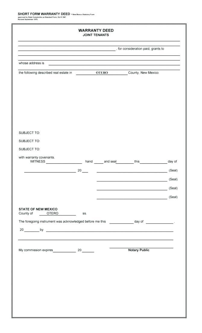 Florida Statutory Form Of Special Warranty Deed