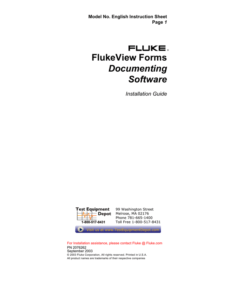Flukeview Forms Software Manual