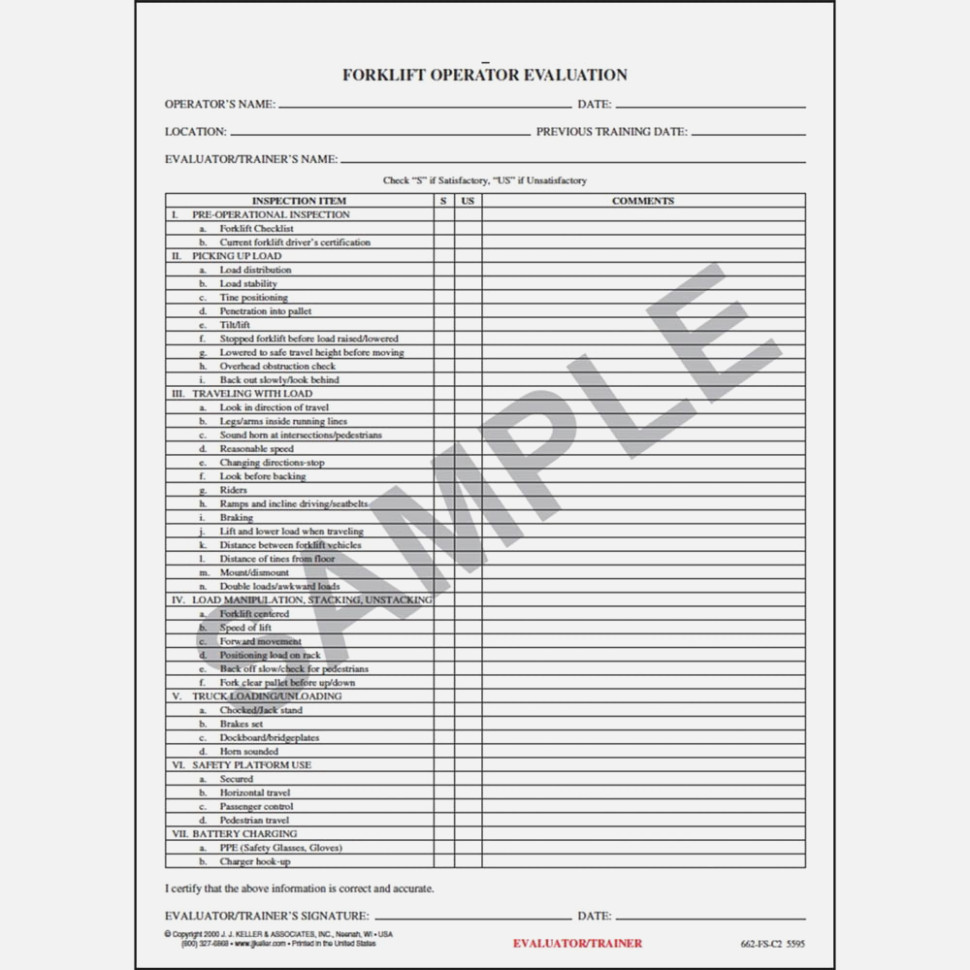 Forklift Certification Evaluation Form