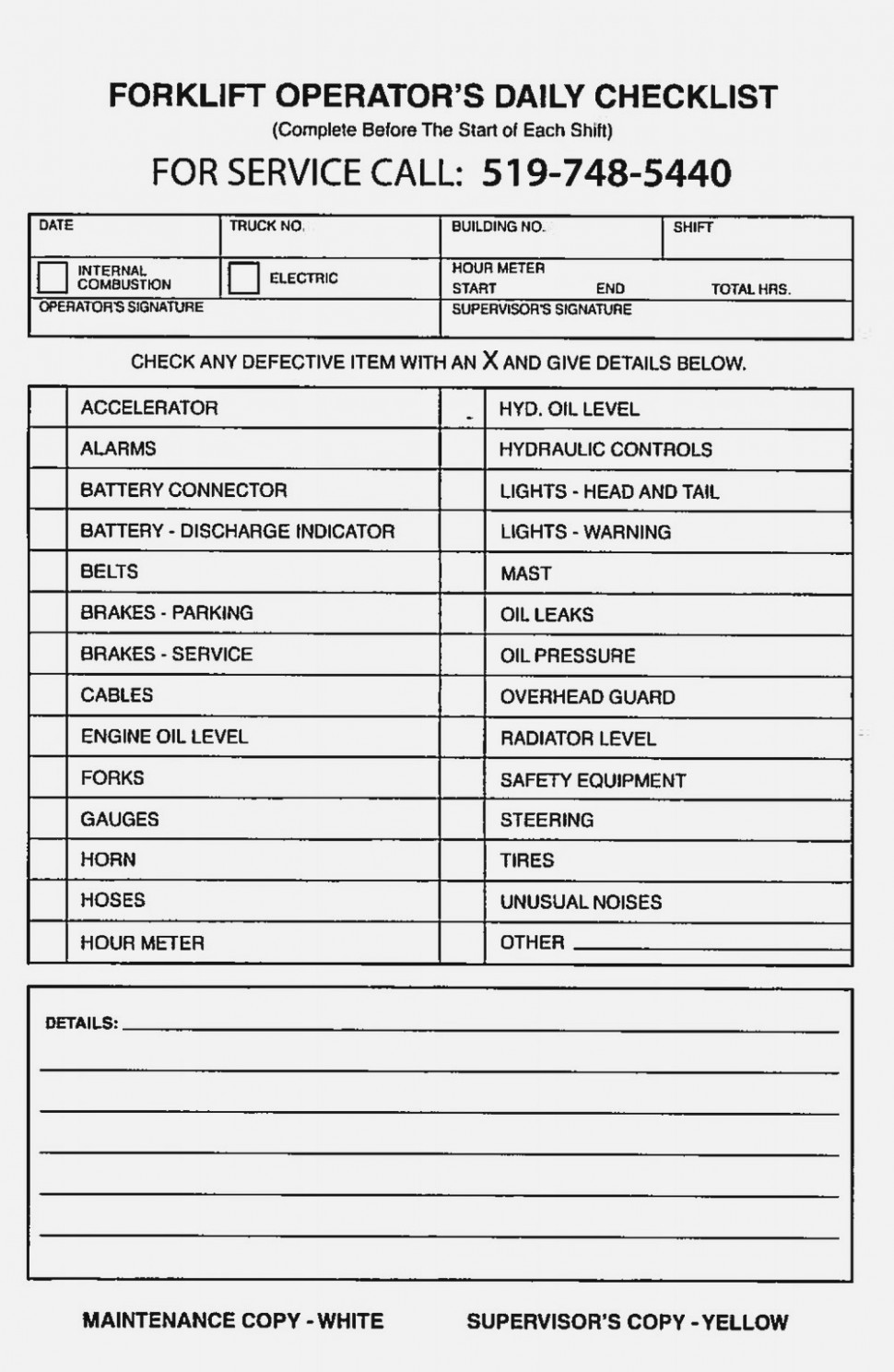 Forklift Daily Inspection Form