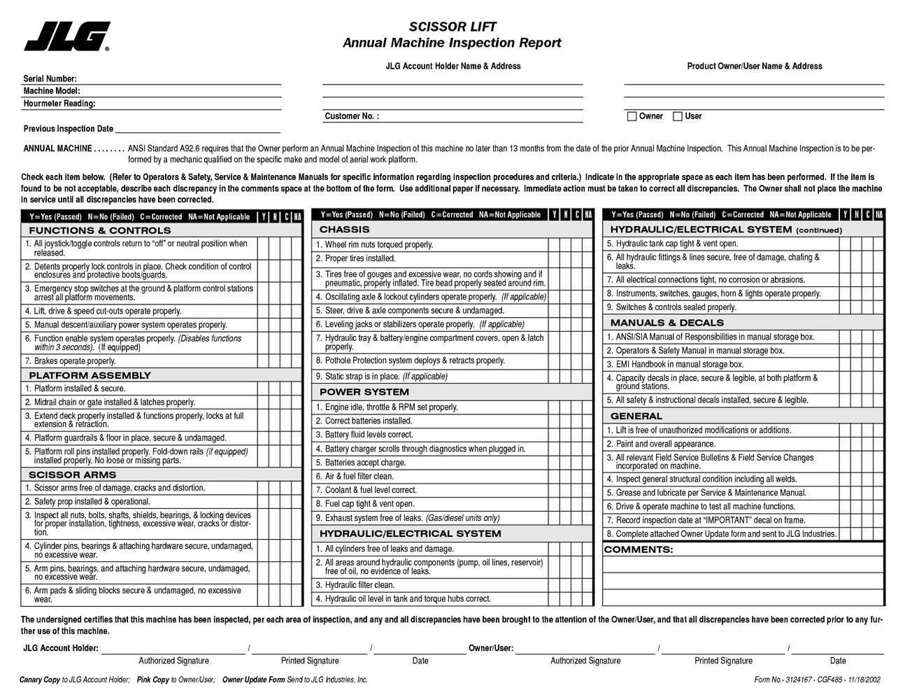 Forklift Daily Inspection Forms