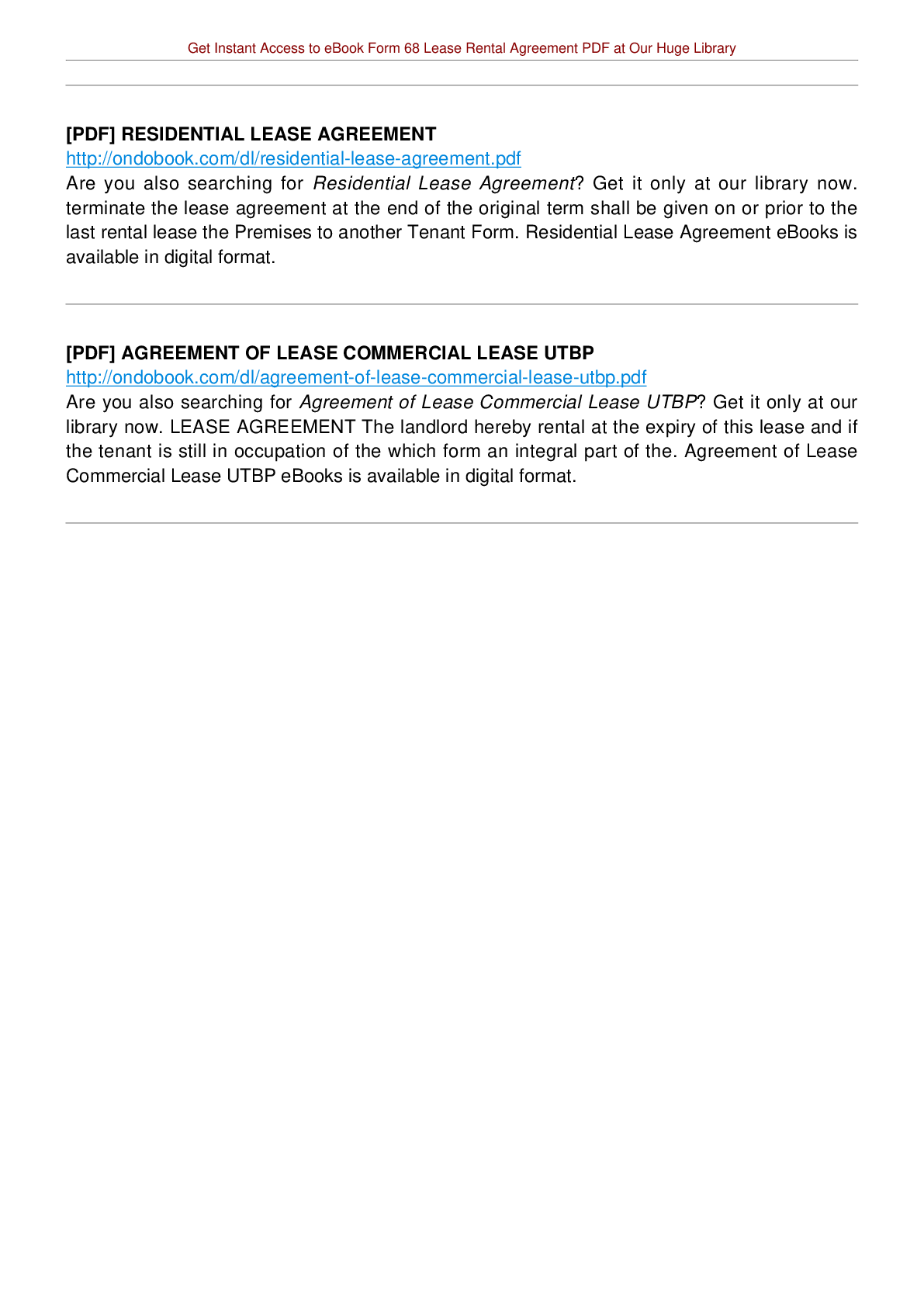 Form 68 Lease Rental Agreement Pdf