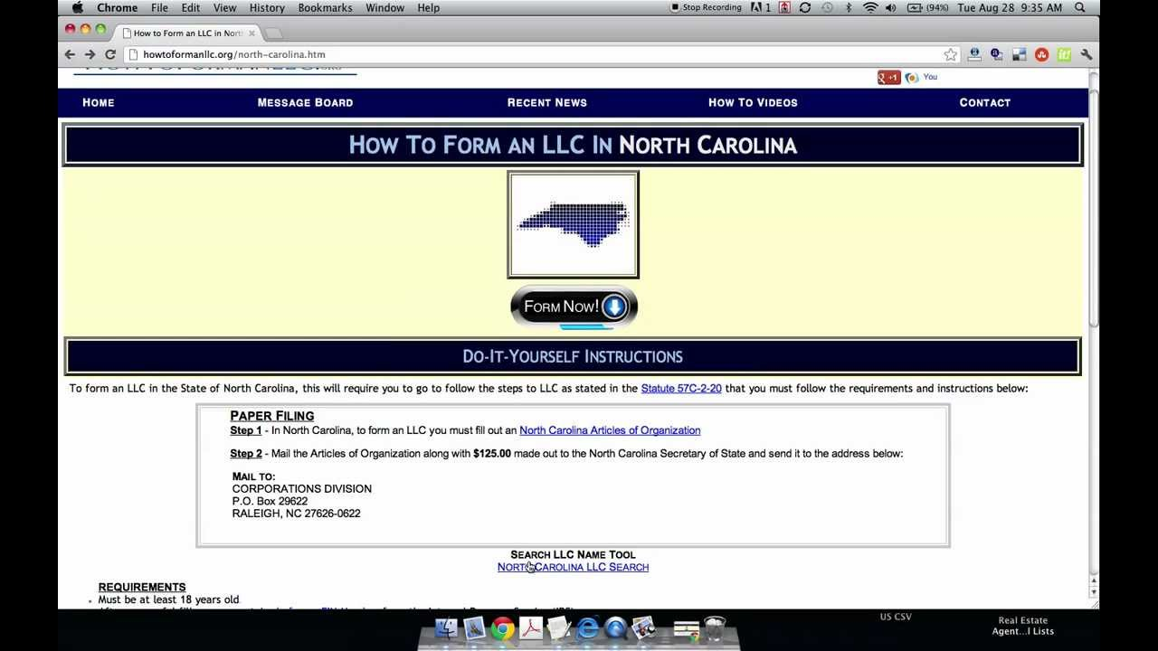 Form An Llc In North Carolina