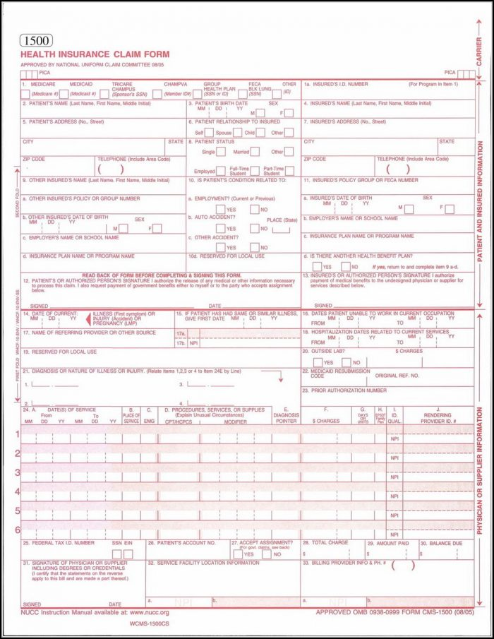 Form Hcfa 1500 Free Download