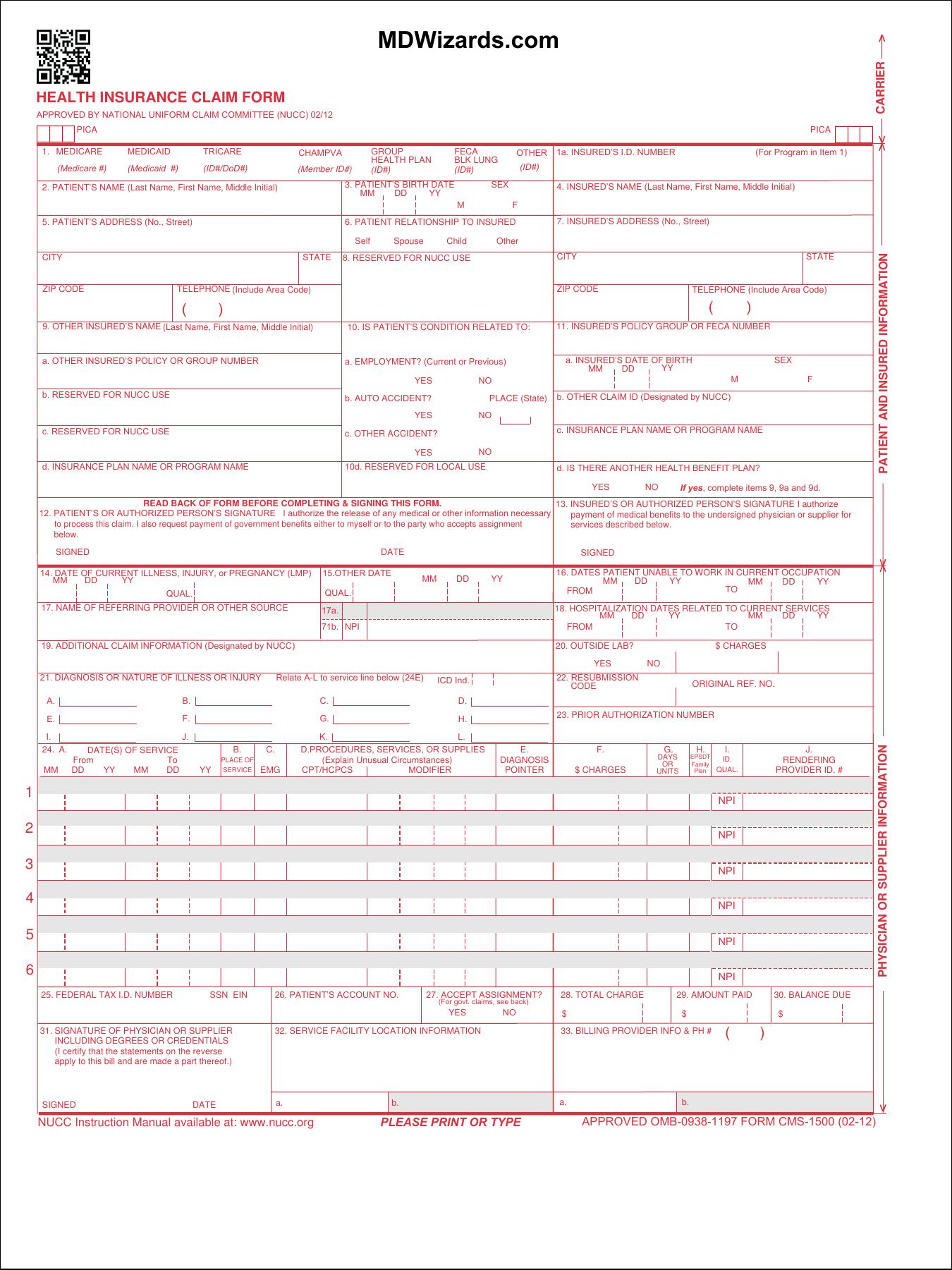 Form Hcfa 1500 Pdf